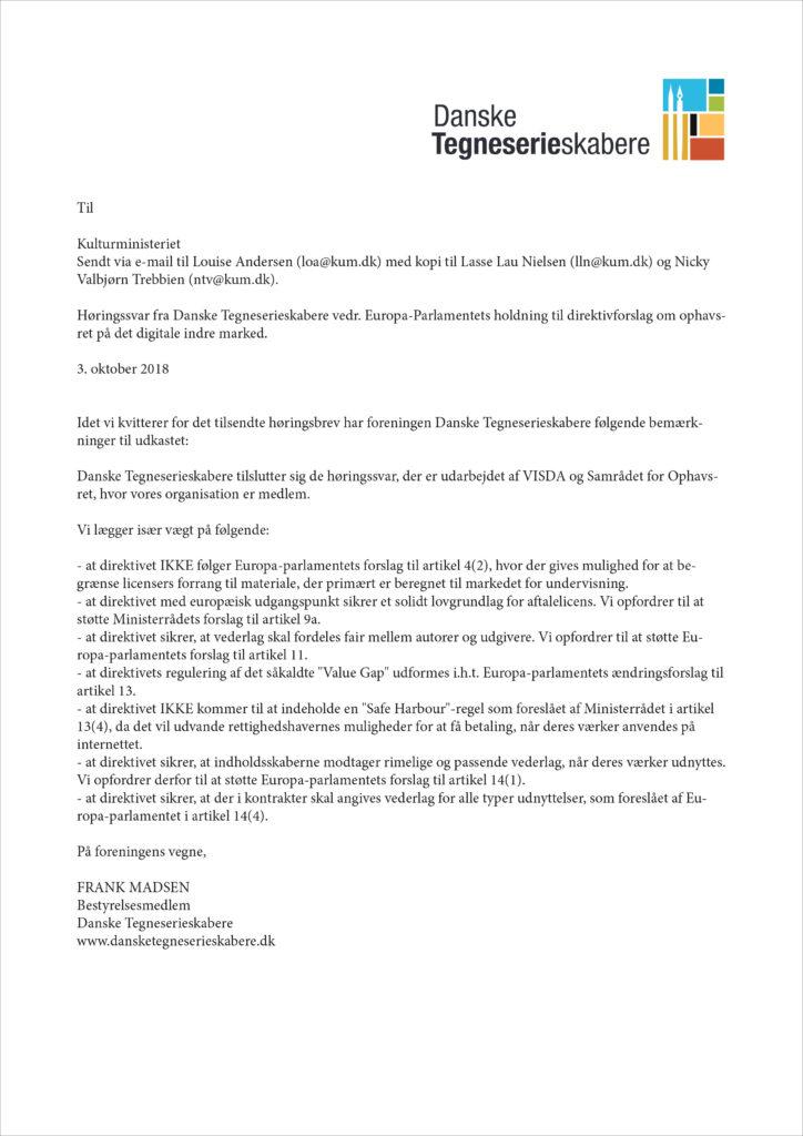Høringssvar vedrørende Europa-Parlamentets holdning til direktivforslag om ophavsret på det digitale indre marked
