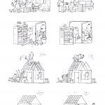 Forkert - og rigtigt. En stribe illustrationer jeg er i gang med til en intern kampagne i et byggefirma.